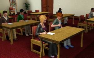 Sims in a classroom